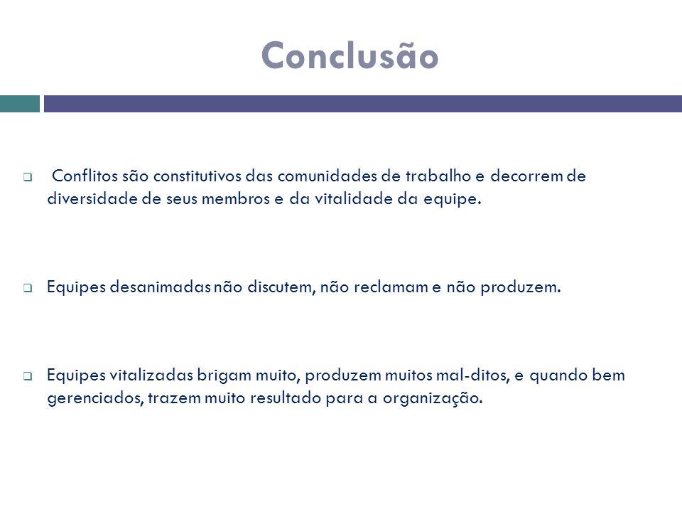 Conclusão  Conflitos são constitutivos das comunidades de trabalho e decorrem de diversidade de seus membros e da vitalidade da equipe.  Equipes des