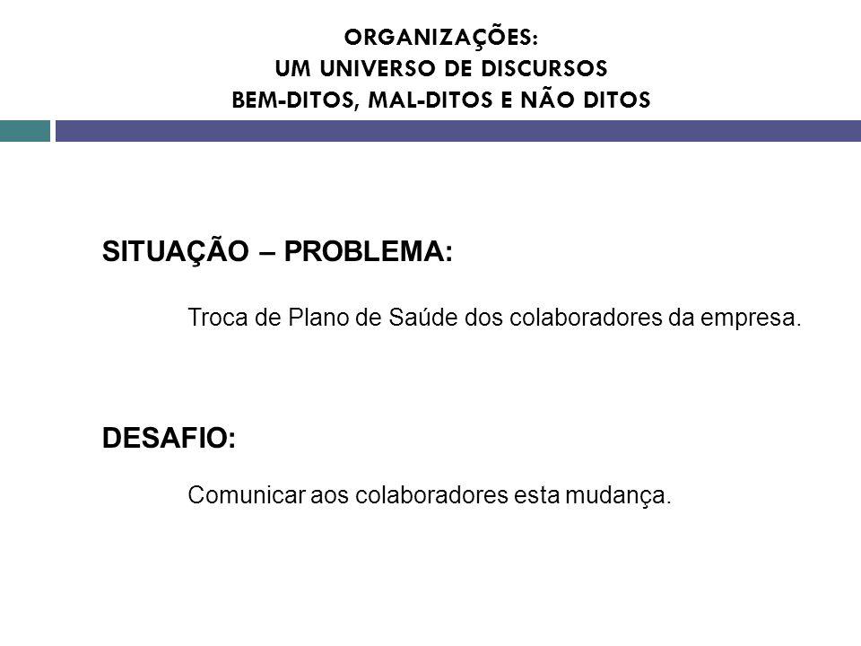 SITUAÇÃO – PROBLEMA: Troca de Plano de Saúde dos colaboradores da empresa. DESAFIO: Comunicar aos colaboradores esta mudança. ORGANIZAÇÕES: UM UNIVERS