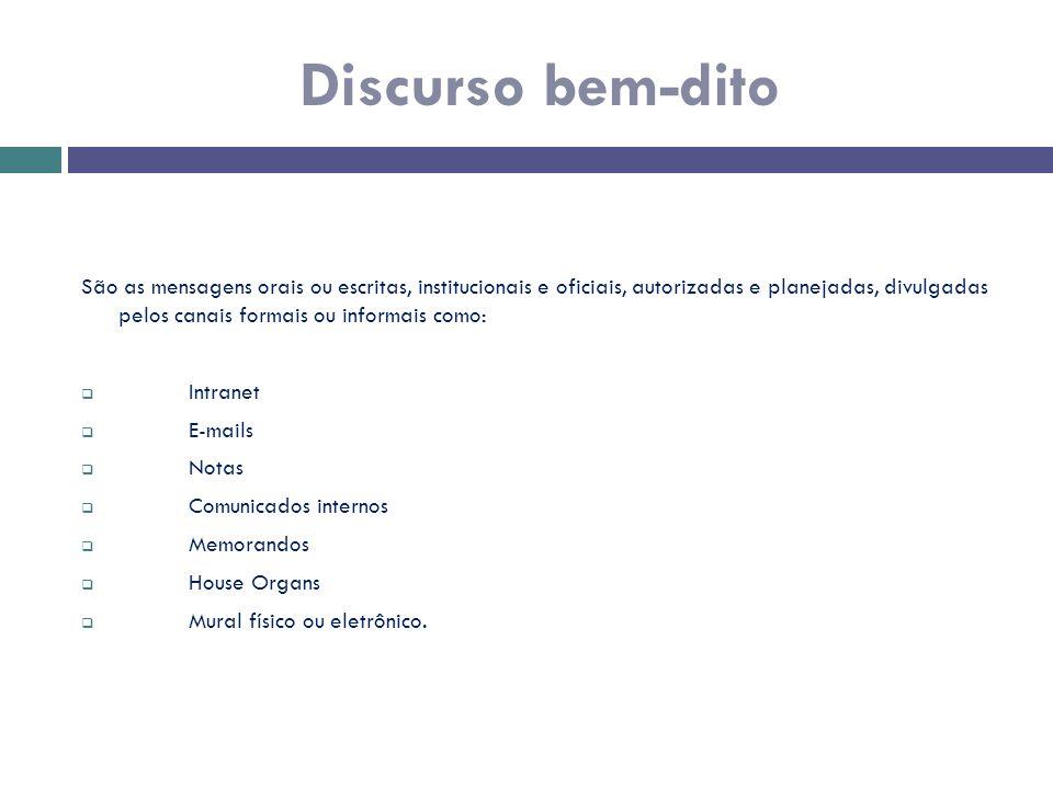 São as mensagens orais ou escritas, institucionais e oficiais, autorizadas e planejadas, divulgadas pelos canais formais ou informais como:  Intranet