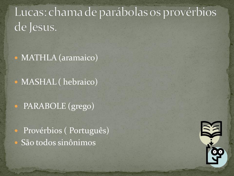 MATHLA (aramaico) MASHAL ( hebraico) PARABOLE (grego) Provérbios ( Português) São todos sinônimos