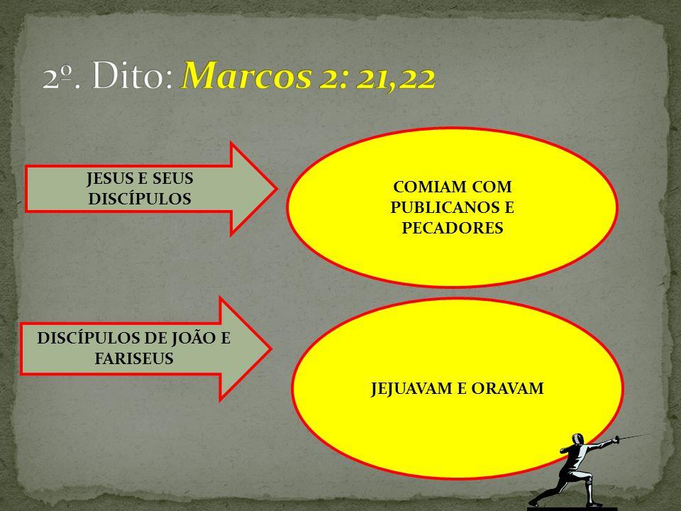 JESUS E SEUS DISCÍPULOS DISCÍPULOS DE JOÃO E FARISEUS COMIAM COM PUBLICANOS E PECADORES JEJUAVAM E ORAVAM