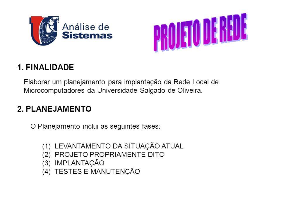 1. FINALIDADE Elaborar um planejamento para implantação da Rede Local de Microcomputadores da Universidade Salgado de Oliveira. 2. PLANEJAMENTO O Plan