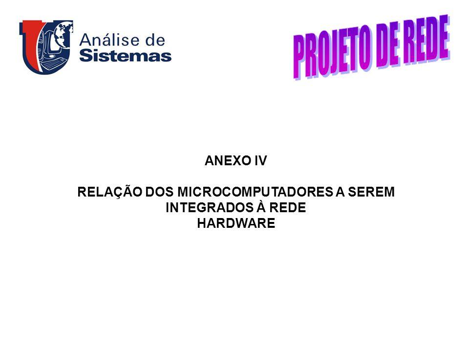ANEXO IV RELAÇÃO DOS MICROCOMPUTADORES A SEREM INTEGRADOS À REDE HARDWARE