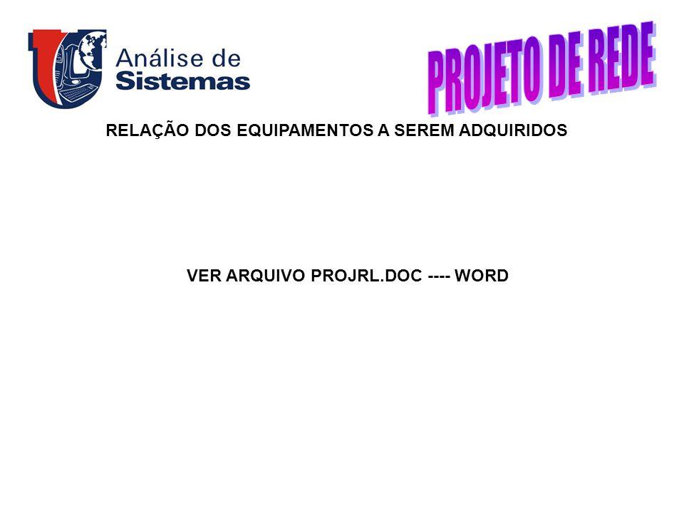 RELAÇÃO DOS EQUIPAMENTOS A SEREM ADQUIRIDOS VER ARQUIVO PROJRL.DOC ---- WORD