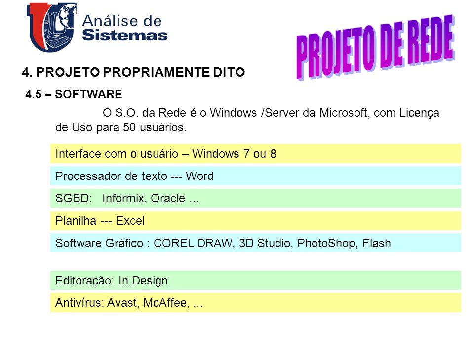 4. PROJETO PROPRIAMENTE DITO 4.5 – SOFTWARE Interface com o usuário – Windows 7 ou 8 Processador de texto --- Word SGBD: Informix, Oracle... Planilha