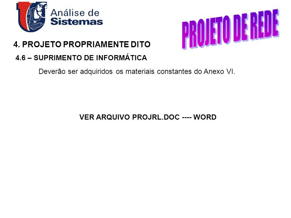 4. PROJETO PROPRIAMENTE DITO 4.6 – SUPRIMENTO DE INFORMÁTICA Deverão ser adquiridos os materiais constantes do Anexo VI. VER ARQUIVO PROJRL.DOC ---- W