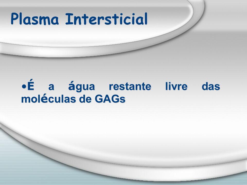 Plasma Intersticial É a á gua restante livre das mol é culas de GAGs