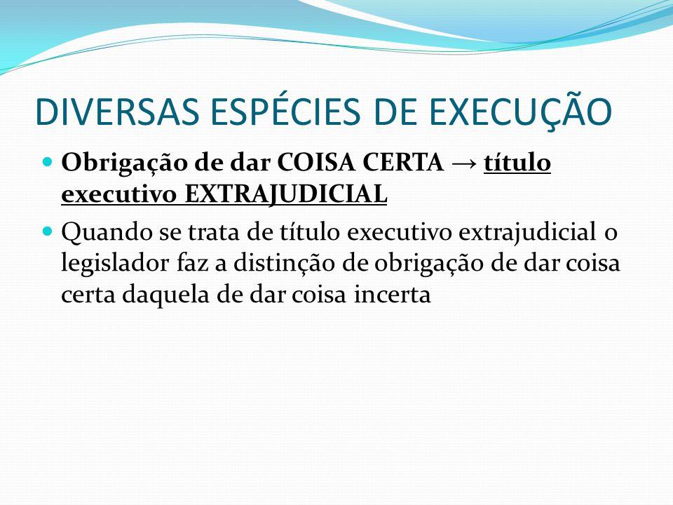 DIVERSAS ESPÉCIES DE EXECUÇÃO Obrigação de dar COISA CERTA → título executivo EXTRAJUDICIAL Quando se trata de título executivo extrajudicial o legisl