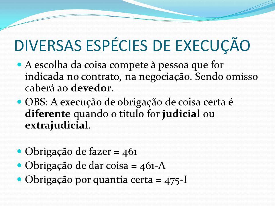 DIVERSAS ESPÉCIES DE EXECUÇÃO A escolha da coisa compete à pessoa que for indicada no contrato, na negociação. Sendo omisso caberá ao devedor. OBS: A