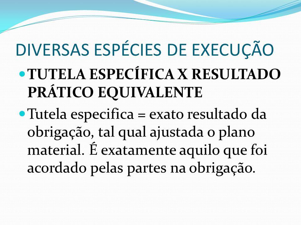 DIVERSAS ESPÉCIES DE EXECUÇÃO TUTELA ESPECÍFICA X RESULTADO PRÁTICO EQUIVALENTE Tutela especifica = exato resultado da obrigação, tal qual ajustada o