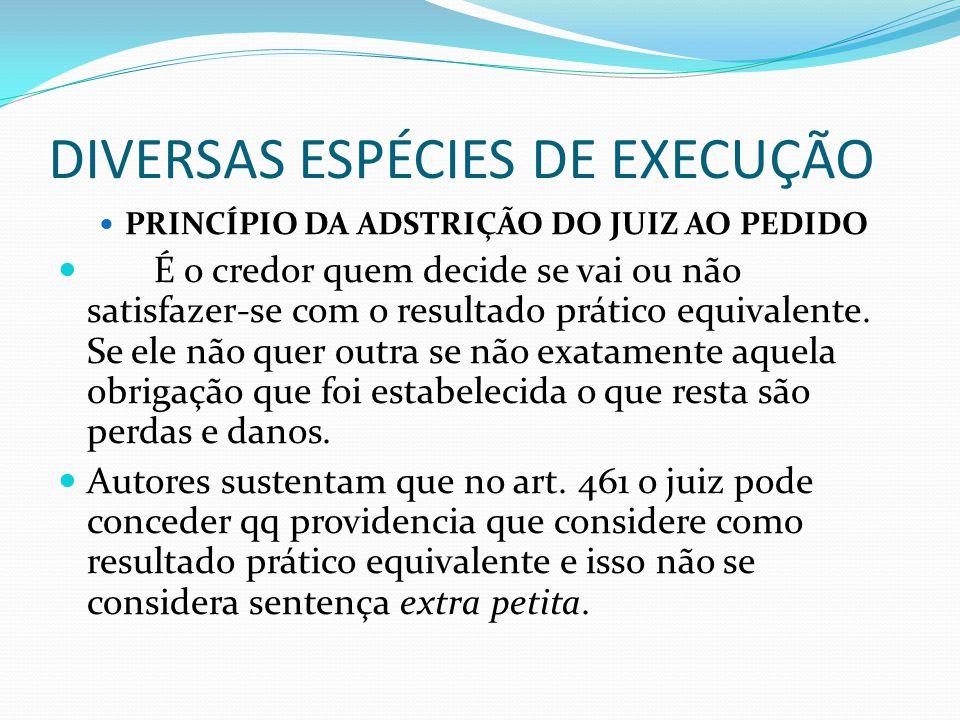 DIVERSAS ESPÉCIES DE EXECUÇÃO PRINCÍPIO DA ADSTRIÇÃO DO JUIZ AO PEDIDO É o credor quem decide se vai ou não satisfazer-se com o resultado prático equi