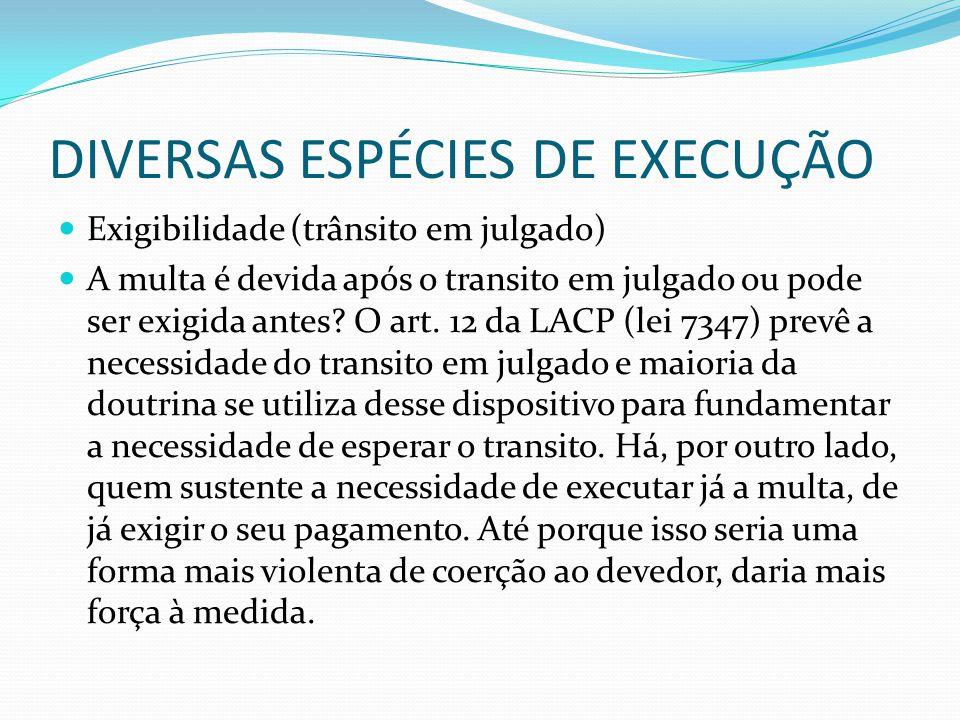 DIVERSAS ESPÉCIES DE EXECUÇÃO Exigibilidade (trânsito em julgado) A multa é devida após o transito em julgado ou pode ser exigida antes? O art. 12 da
