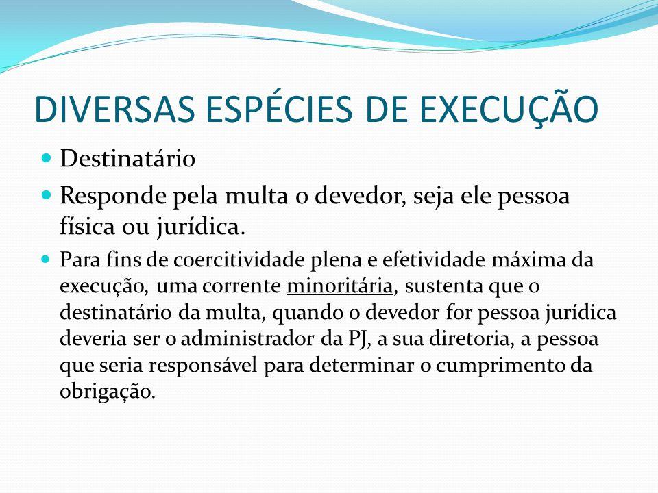 DIVERSAS ESPÉCIES DE EXECUÇÃO Destinatário Responde pela multa o devedor, seja ele pessoa física ou jurídica. Para fins de coercitividade plena e efet