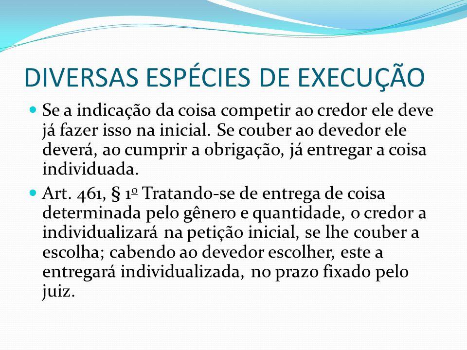 DIVERSAS ESPÉCIES DE EXECUÇÃO O deposito da coisa não é necessário para que o devedor possa opor embargos.
