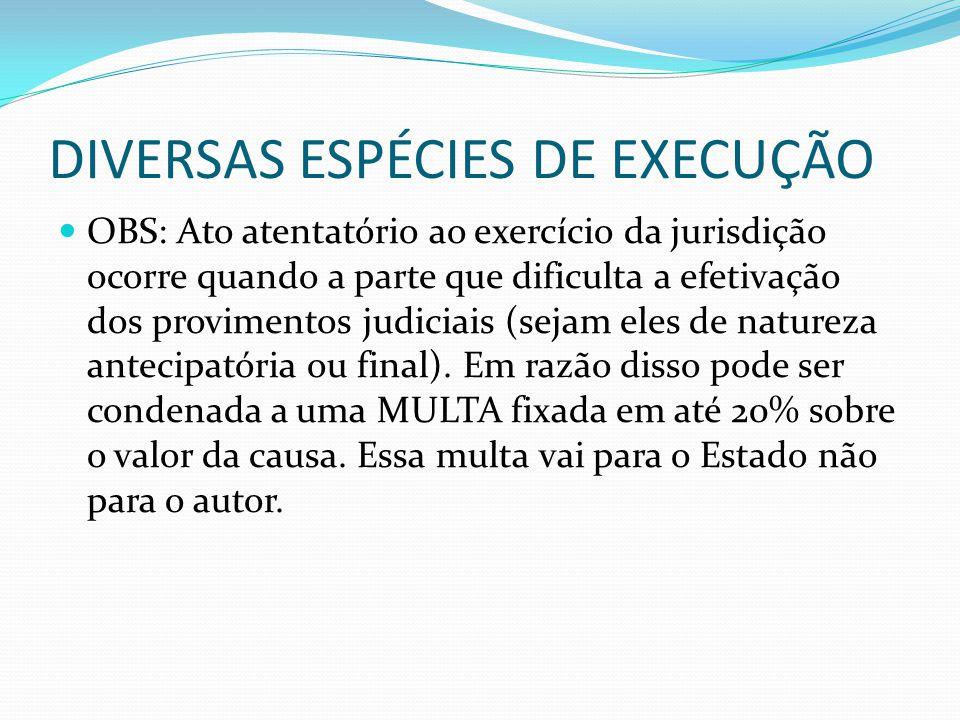 DIVERSAS ESPÉCIES DE EXECUÇÃO OBS: Ato atentatório ao exercício da jurisdição ocorre quando a parte que dificulta a efetivação dos provimentos judicia