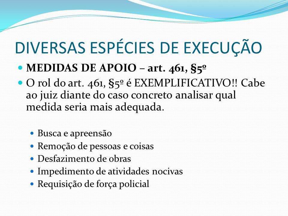DIVERSAS ESPÉCIES DE EXECUÇÃO MEDIDAS DE APOIO – art. 461, §5º O rol do art. 461, §5º é EXEMPLIFICATIVO!! Cabe ao juiz diante do caso concreto analisa