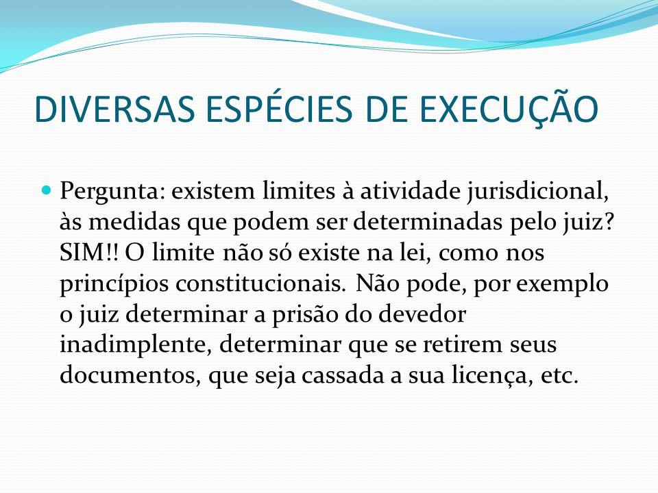 DIVERSAS ESPÉCIES DE EXECUÇÃO Pergunta: existem limites à atividade jurisdicional, às medidas que podem ser determinadas pelo juiz? SIM!! O limite não