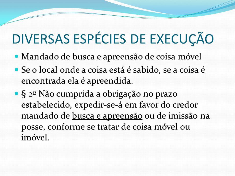 DIVERSAS ESPÉCIES DE EXECUÇÃO Art.624.