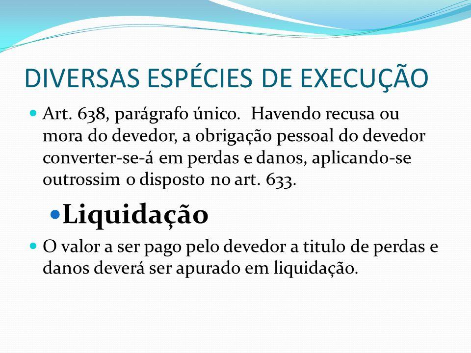 DIVERSAS ESPÉCIES DE EXECUÇÃO Art. 638, parágrafo único. Havendo recusa ou mora do devedor, a obrigação pessoal do devedor converter-se-á em perdas e