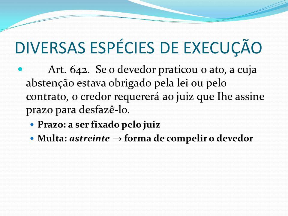 DIVERSAS ESPÉCIES DE EXECUÇÃO Art. 642. Se o devedor praticou o ato, a cuja abstenção estava obrigado pela lei ou pelo contrato, o credor requererá ao