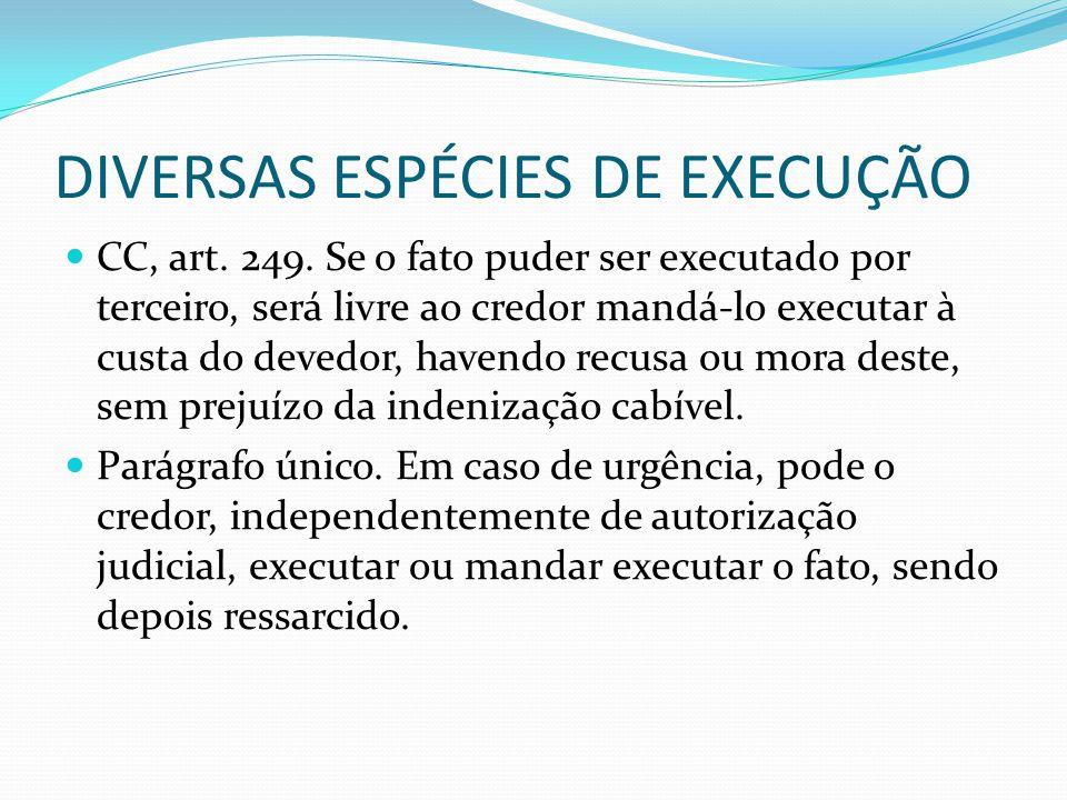 DIVERSAS ESPÉCIES DE EXECUÇÃO CC, art. 249. Se o fato puder ser executado por terceiro, será livre ao credor mandá-lo executar à custa do devedor, hav
