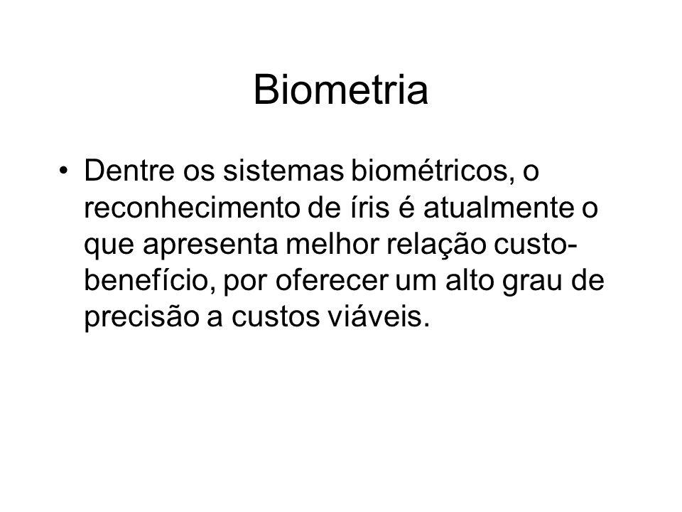 Biometria Dentre os sistemas biométricos, o reconhecimento de íris é atualmente o que apresenta melhor relação custo- benefício, por oferecer um alto