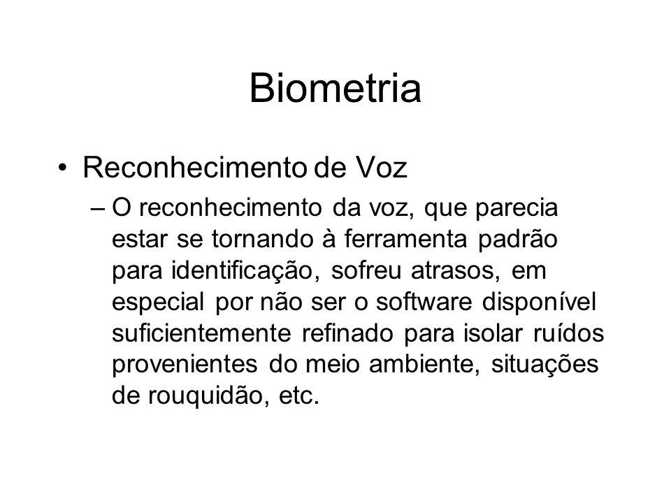 Biometria Reconhecimento de Voz –O reconhecimento da voz, que parecia estar se tornando à ferramenta padrão para identificação, sofreu atrasos, em esp