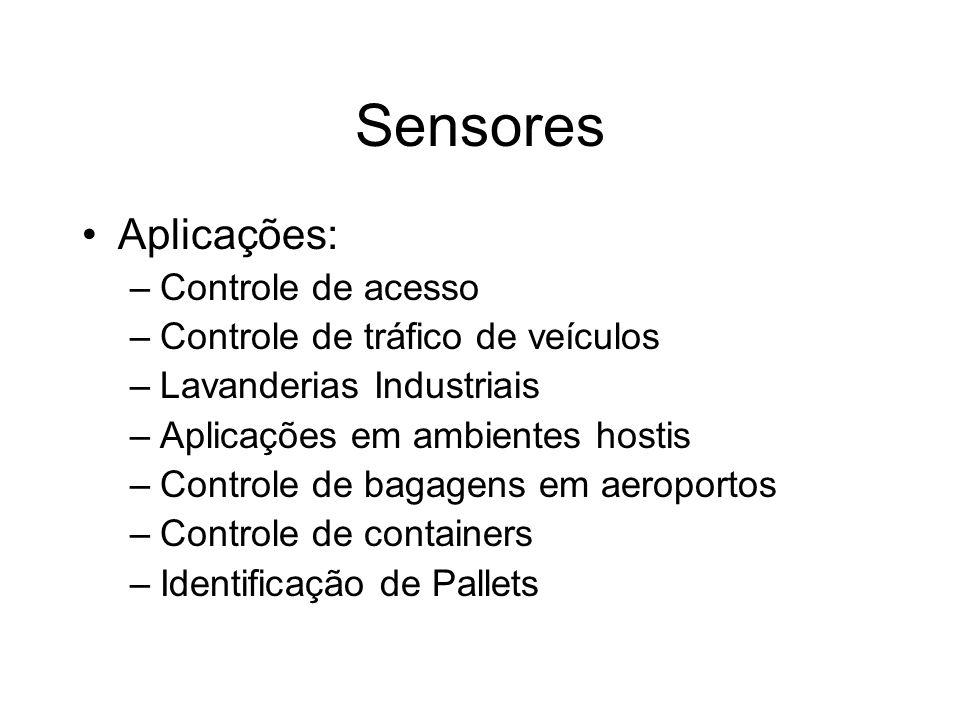 Sensores Aplicações: –Controle de acesso –Controle de tráfico de veículos –Lavanderias Industriais –Aplicações em ambientes hostis –Controle de bagage