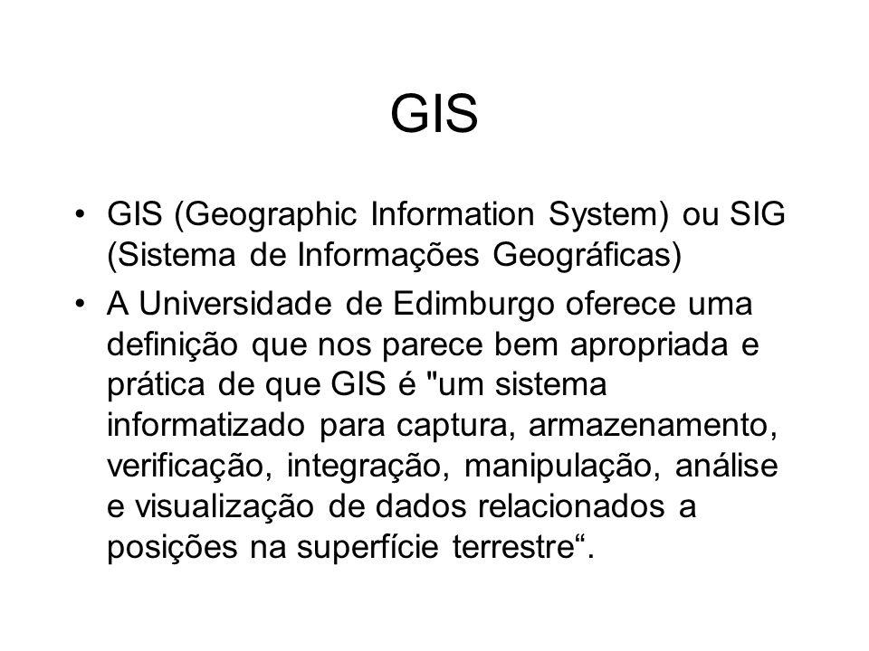 GIS GIS (Geographic Information System) ou SIG (Sistema de Informações Geográficas) A Universidade de Edimburgo oferece uma definição que nos parece b
