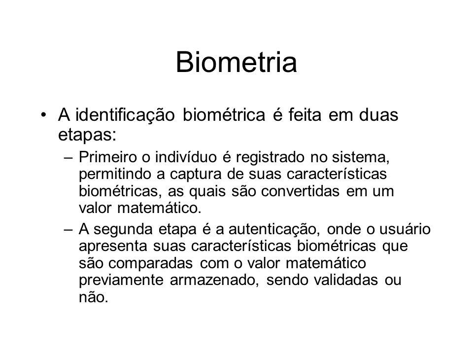 Biometria A identificação biométrica é feita em duas etapas: –Primeiro o indivíduo é registrado no sistema, permitindo a captura de suas característic