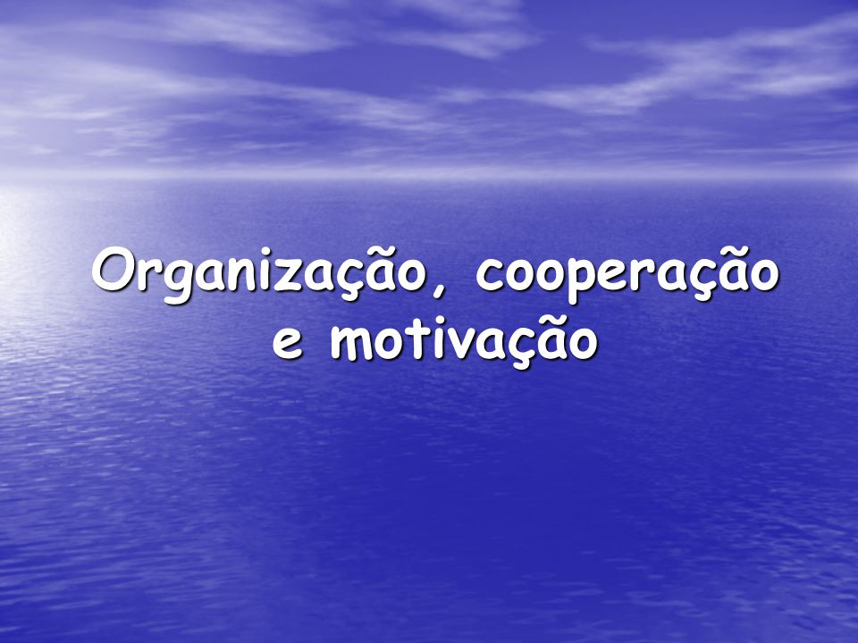 Organização, cooperação e motivação