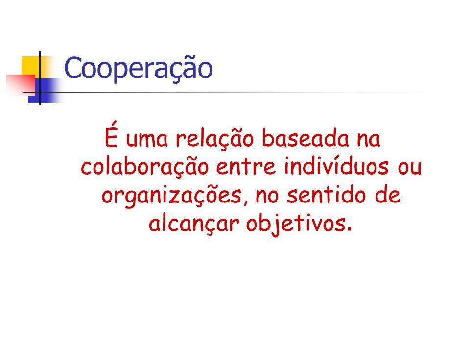 Cooperação É uma relação baseada na colaboração entre indivíduos ou organizações, no sentido de alcançar objetivos.