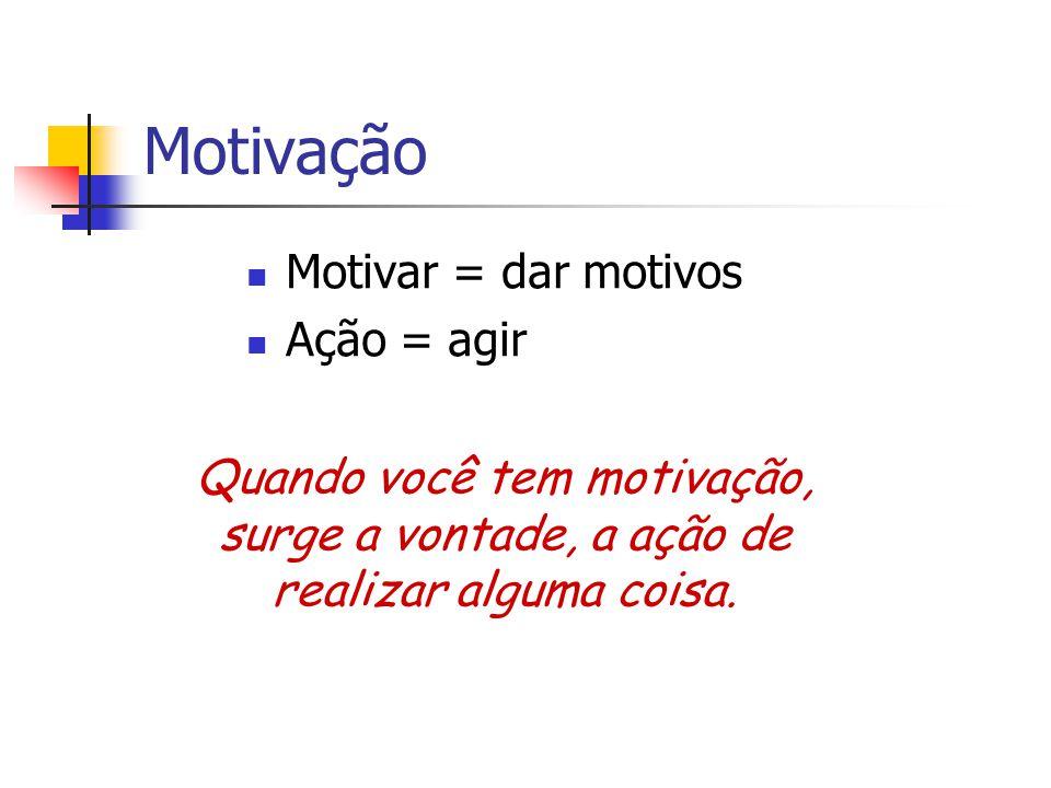 Motivação Motivar = dar motivos Ação = agir Quando você tem motivação, surge a vontade, a ação de realizar alguma coisa.