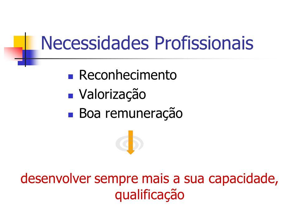 Necessidades Profissionais Reconhecimento Valorização Boa remuneração desenvolver sempre mais a sua capacidade, qualificação