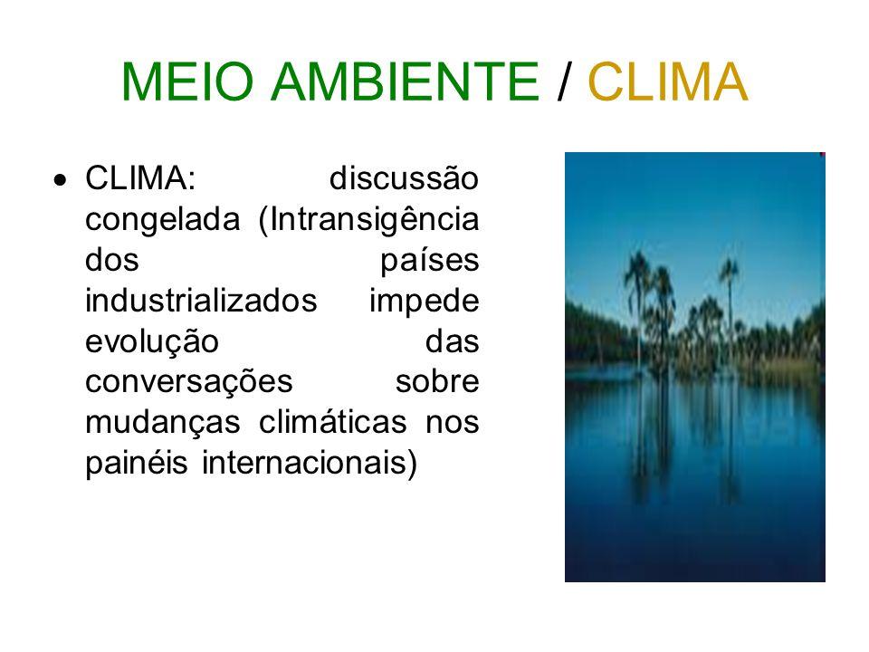MEIO AMBIENTE / CLIMA  CLIMA: discussão congelada (Intransigência dos países industrializados impede evolução das conversações sobre mudanças climáti