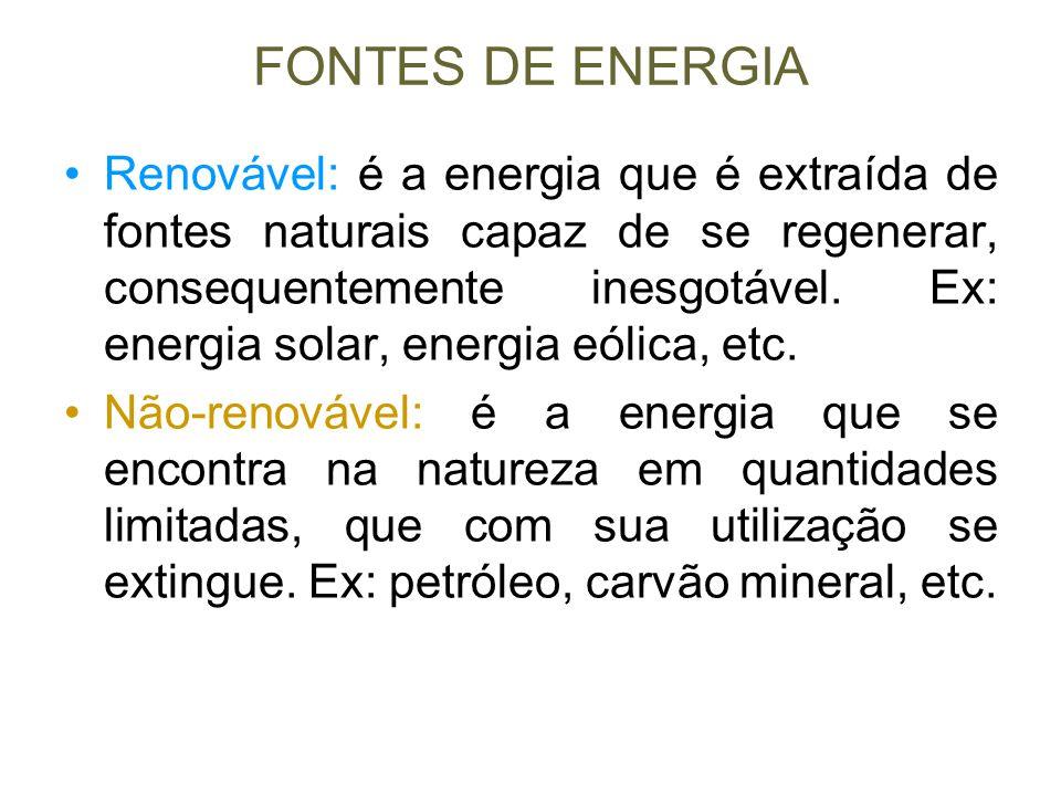 FONTES DE ENERGIA Renovável: é a energia que é extraída de fontes naturais capaz de se regenerar, consequentemente inesgotável. Ex: energia solar, ene
