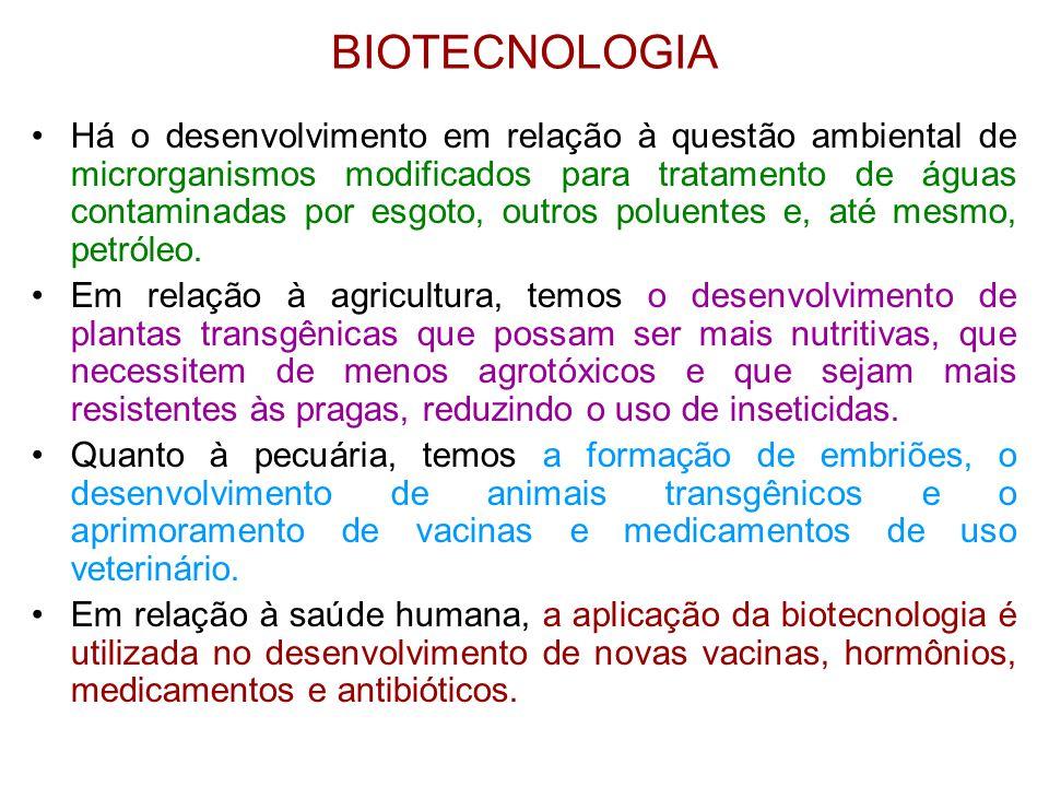 BIOTECNOLOGIA Há o desenvolvimento em relação à questão ambiental de microrganismos modificados para tratamento de águas contaminadas por esgoto, outr