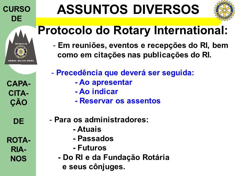 ASSUNTOS DIVERSOS CURSO DE CAPA- CITA- ÇÃO DE ROTA- RIA- NOS Protocolo do Rotary International: - Precedência que deverá ser seguida: - Ao apresentar