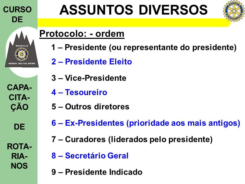 ASSUNTOS DIVERSOS CURSO DE CAPA- CITA- ÇÃO DE ROTA- RIA- NOS Protocolo: - ordem 1 – Presidente (ou representante do presidente) 2 – Presidente Eleito
