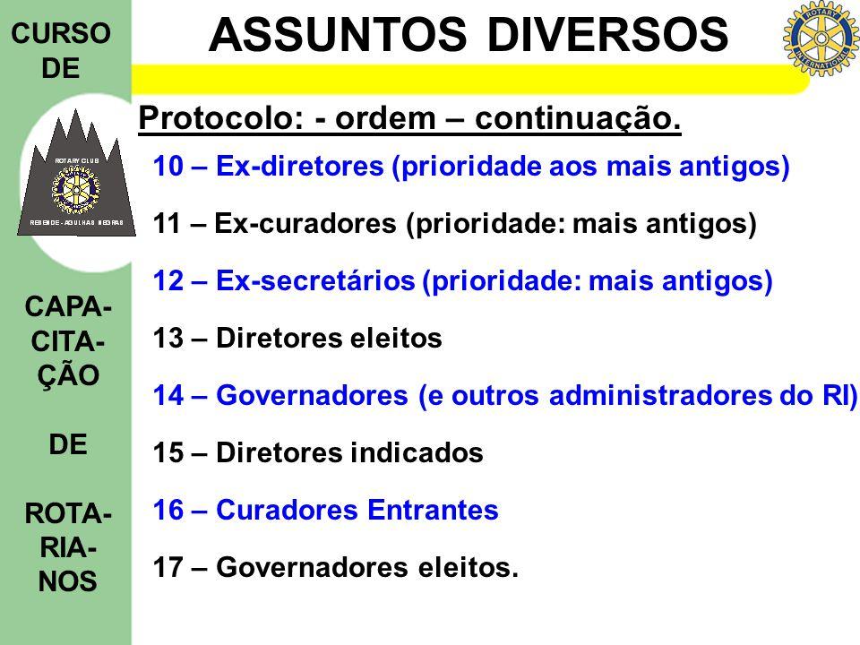 ASSUNTOS DIVERSOS CURSO DE CAPA- CITA- ÇÃO DE ROTA- RIA- NOS Protocolo: - ordem – continuação. 10 – Ex-diretores (prioridade aos mais antigos) 11 – Ex