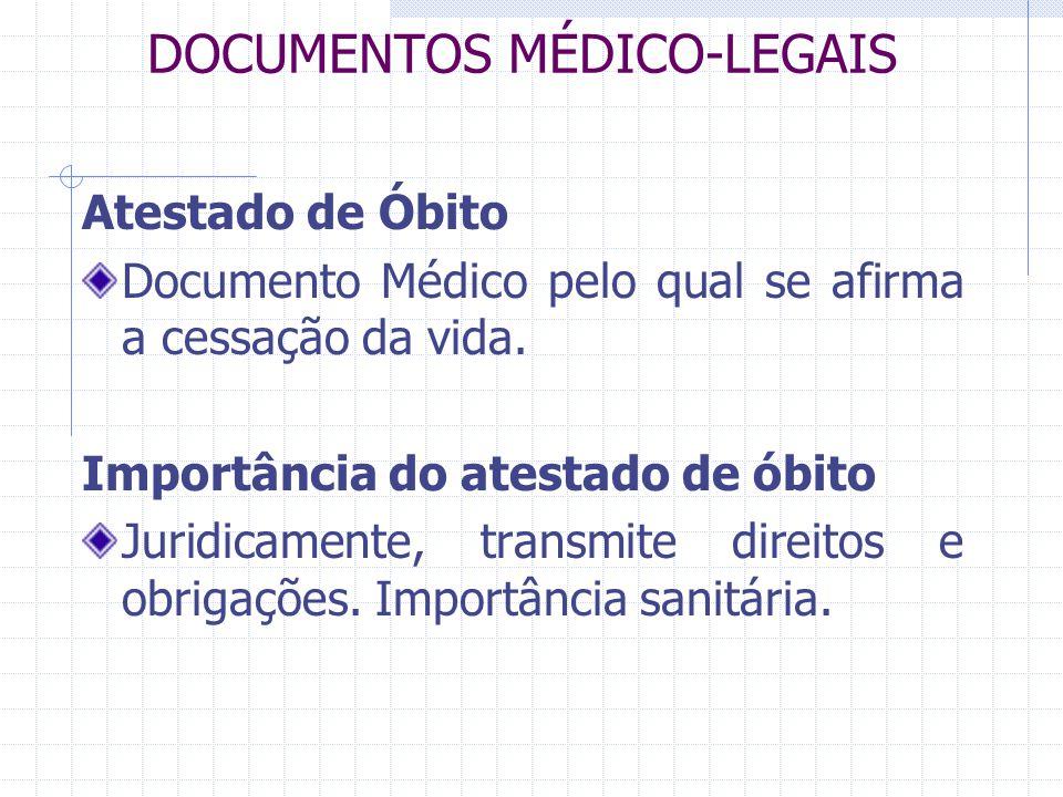 DOCUMENTOS MÉDICO-LEGAIS Atestado de Óbito Documento Médico pelo qual se afirma a cessação da vida. Importância do atestado de óbito Juridicamente, tr