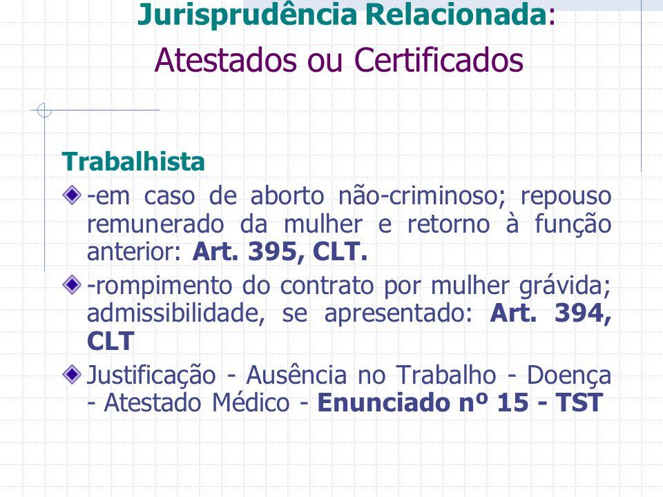 Jurisprudência Relacionada: Atestados ou Certificados Trabalhista -em caso de aborto não-criminoso; repouso remunerado da mulher e retorno à função an