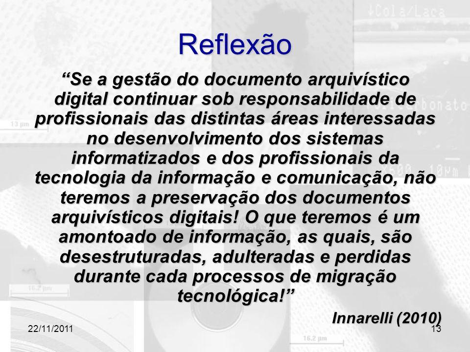 """22/11/2011 Reflexão """"Se a gestão do documento arquivístico digital continuar sob responsabilidade de profissionais das distintas áreas interessadas no"""
