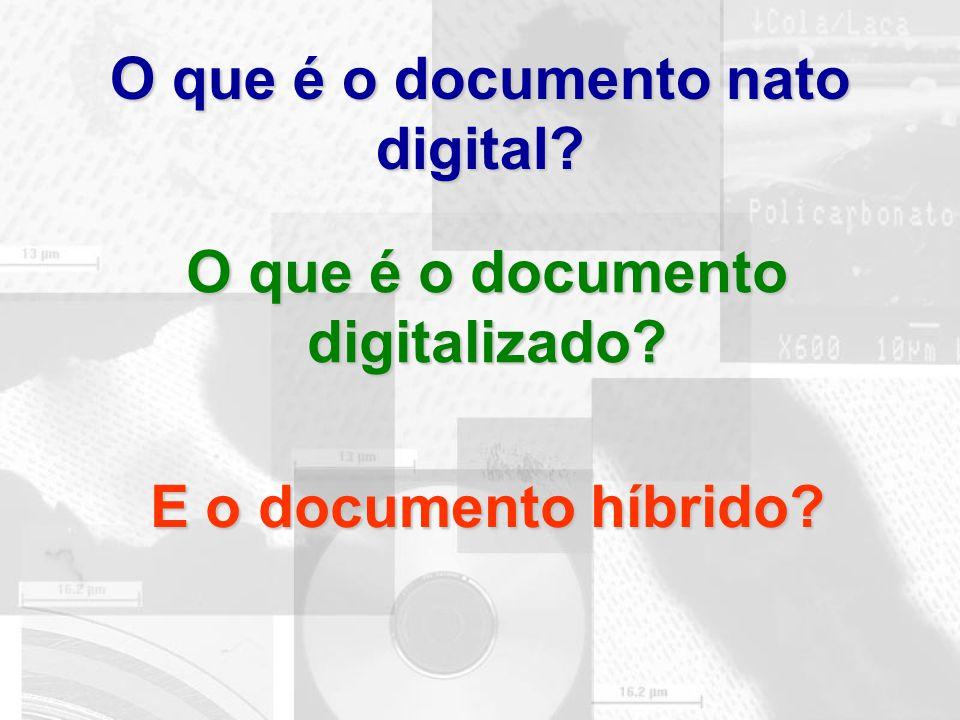 O que é o documento nato digital? O que é o documento digitalizado? E o documento híbrido?
