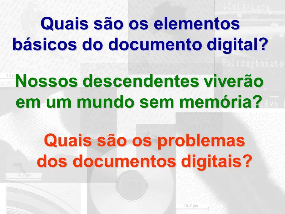 Quais são os elementos básicos do documento digital? Nossos descendentes viverão em um mundo sem memória? Quais são os problemas dos documentos digita