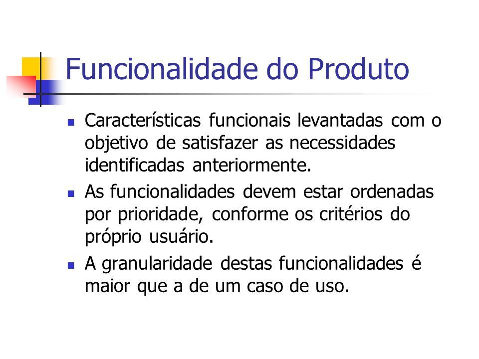 Funcionalidade do Produto Características funcionais levantadas com o objetivo de satisfazer as necessidades identificadas anteriormente. As funcional