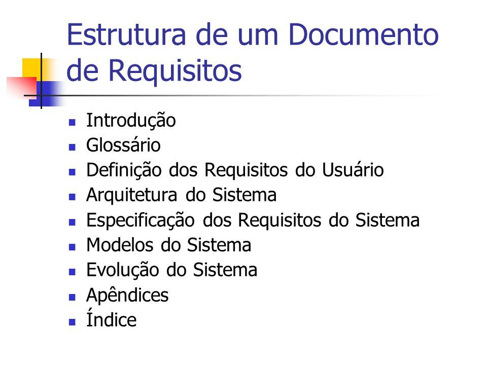Estrutura de um Documento de Requisitos Introdução Glossário Definição dos Requisitos do Usuário Arquitetura do Sistema Especificação dos Requisitos d
