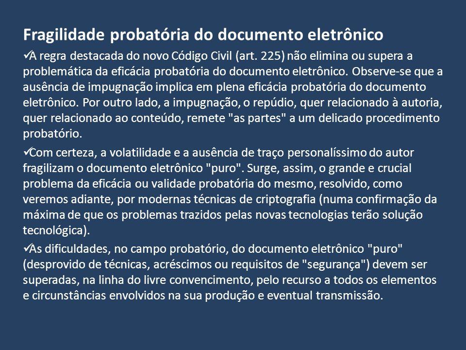 Fragilidade probatória do documento eletrônico A regra destacada do novo Código Civil (art. 225) não elimina ou supera a problemática da eficácia prob