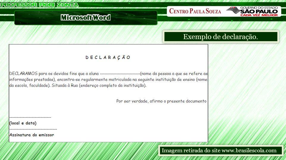 Exemplo de declaração. Imagem retirada do site www.brasilescola.com