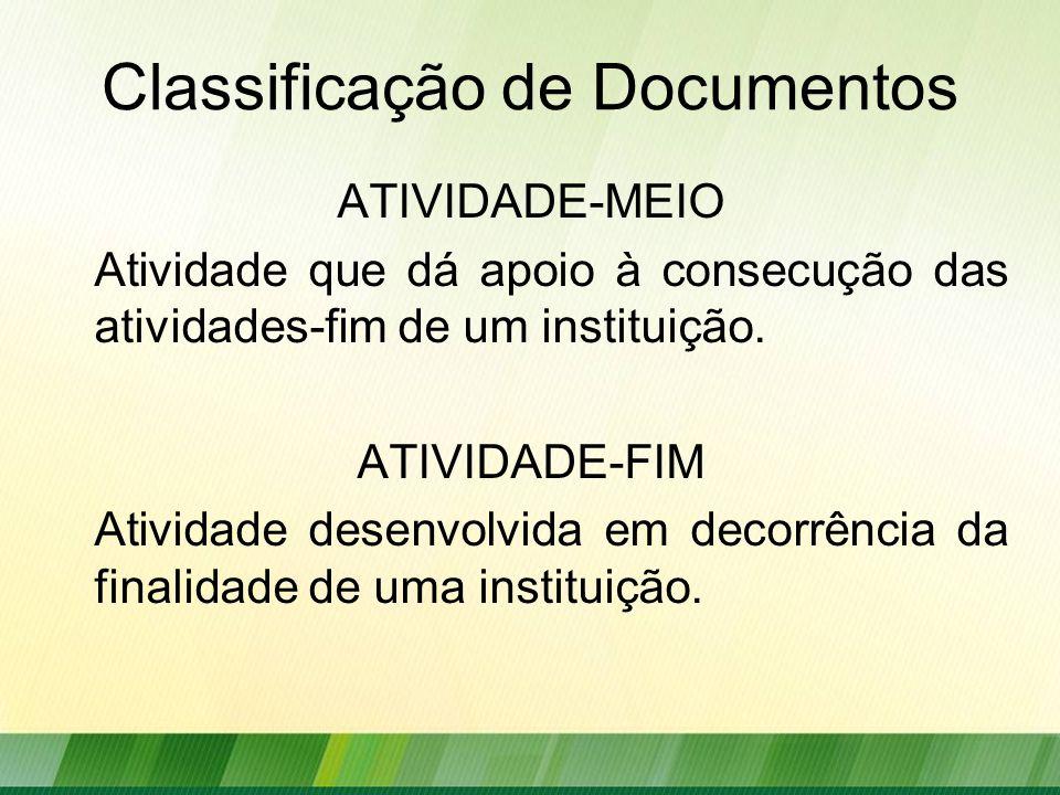 Classificação de Documentos ATIVIDADE-MEIO Atividade que dá apoio à consecução das atividades-fim de um instituição.